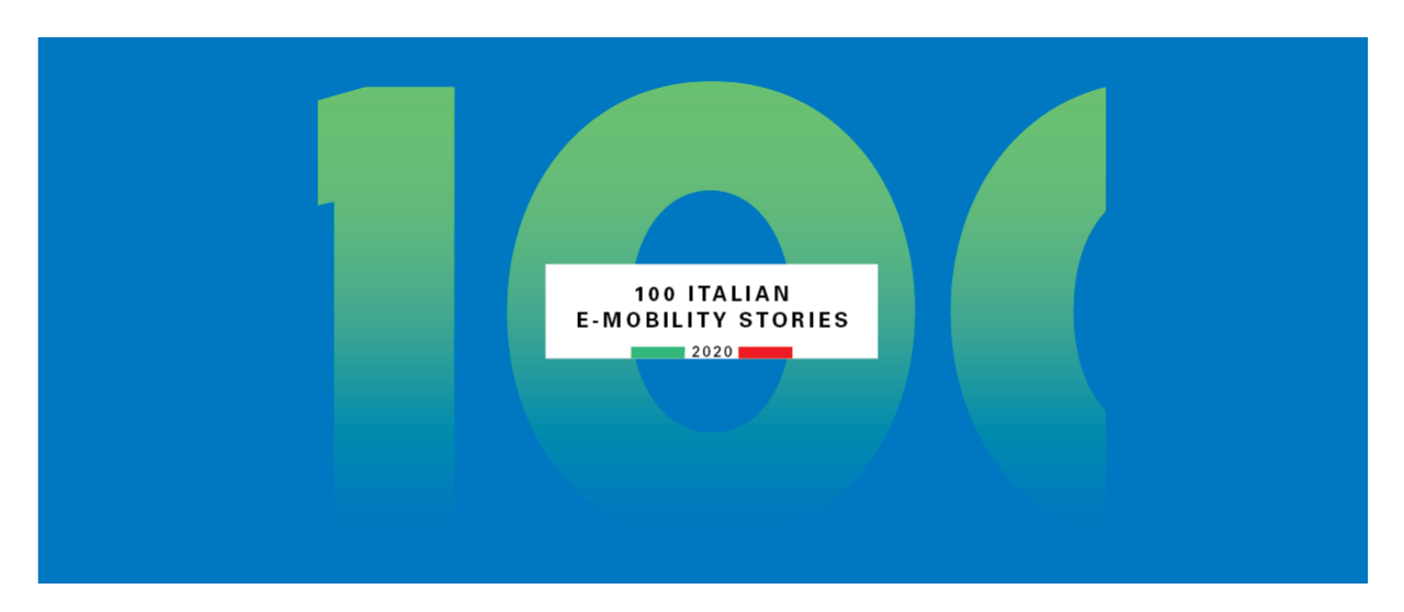 "Cover of the Symbola Report ""100 Italian e-Mobility Stories 2020"" - Enel.it"